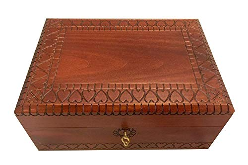 MilmaArtGift Extra Large Wooden Box w/Lock & Key Polish Handmade Wood Keepsake Hearts Jewelry Box Love Letters Box