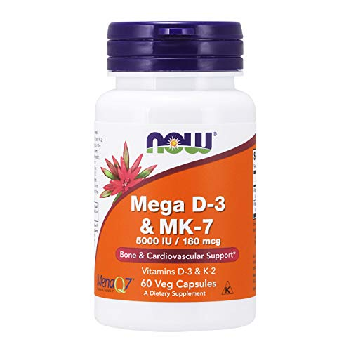 NOW Supplements, Mega D-3 & MK-7 with Vitamins D-3 & K-2, 5,000 IU/180 mcg, Bone & Cardiovascular Support*, 60 Veg…