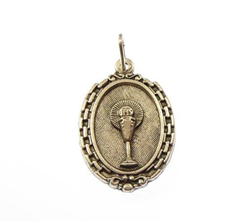- Communion chalice Catholic medal pendant - silver colour metal 3cm
