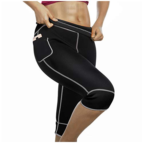 Womens Weight Loss Hot Neoprene Sauna Sweat Pants with Side Pocket Workout Thighs Slimming Capris Leggings Body Shaper (Black, L) (Best Slimming Leg Exercises)