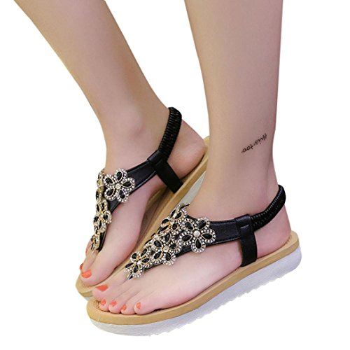 VENMO Frauen Perlen Clip Toe Flats Schuhe Bohemien Fischgrät-Sandalen Strandschuhe Black