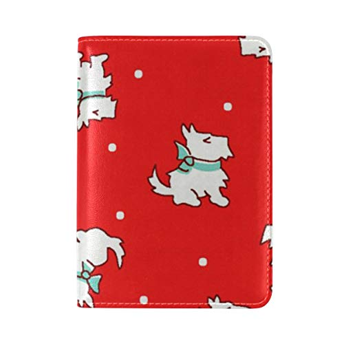 (Storybook Christmas Scottie Dogs Red Passport Holder Cover Case PU Leather Travelling Passport Case for Men & Women)