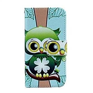 QHY Owl Pattern PU Leather Full Body Case with Card Slot And Stand for iPhone 5C