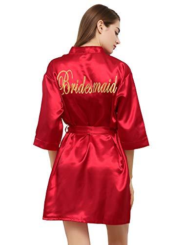 (PROGULOVER Kimono Robe for Women Bride Stain Bridesmaid Robes Imitation Silk Short Wedding Party & Bath)