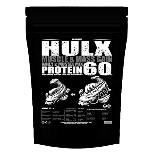 HULX Koi Food Sinking Pellets for Big Muscle & Mass Gain Whey Mixed High Protein 60% Fish Food Growth Fast Formula 1.5 Lb.(800 Gram.) 2mm, Pond Food