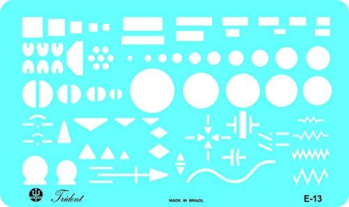 Gabarito Eletricidade - Simbologia Simplificada de Eletricidade, E-13, Trident, Acrílico Azulado 20.5 x 12 cm
