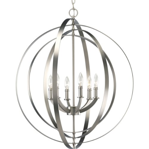 Progress Lighting P3889-126 6-60-Watt Chandelier Sphere Foyer Lantern