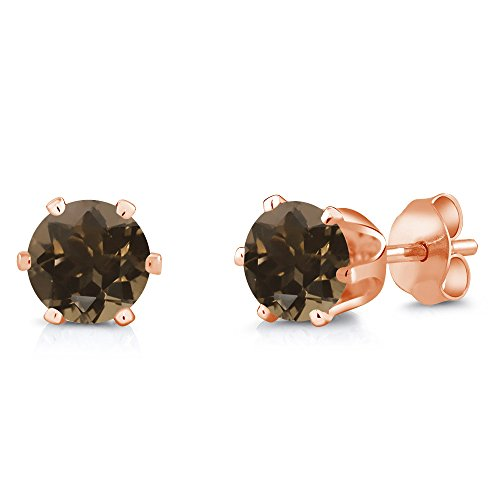 (Gem Stone King 1.60 Ct Round 6mm Brown Smoky Quartz Brass Rose Gold Plated Brass Stud Earrings)
