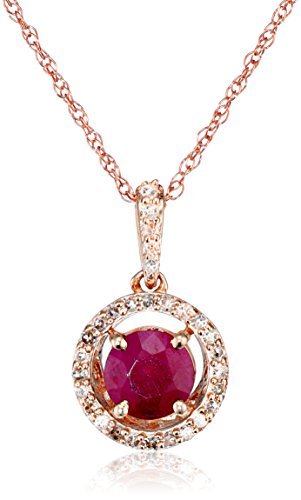 10K Rose Gold Natural Ruby Round with Diamond Halo Pendant Necklace, 18