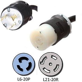 411qRt4yi9L._AC_SS350_ amazon com nema l6 20p to a l21 20r plug adapter 1 foot, 20a 208v