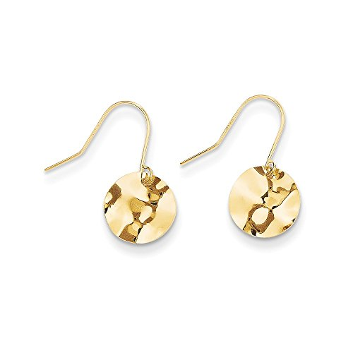 14k Yellow Gold Circle Hammered Dangle Earrings