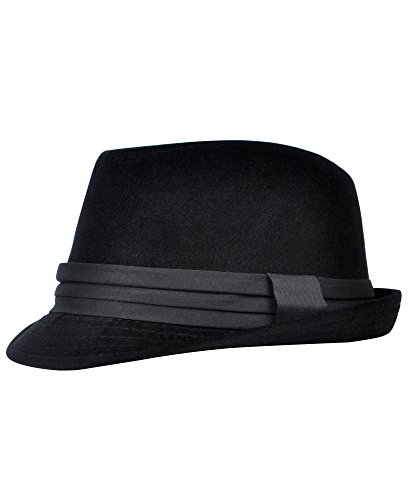 Men's All Season Fashion Wear Fedora Hat (L/XL, Black)