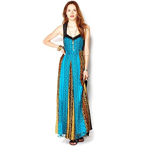 Free People Women's Crinkle Star Dust Maxi Dress Ocean Sz 2