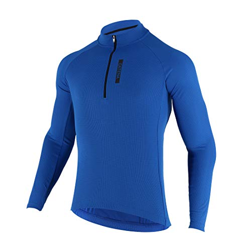 CATENA Men's Cycling Jersey Long Sleeve Shirt Running Top Moisture Wicking Workout Sports T-Shirt Blue, Large