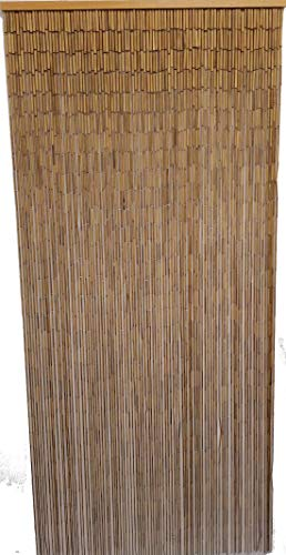 Natural Bamboo Beaded Curtain 90 Strands (+Hanging Hardware) (Beads Door Hanging Wooden)