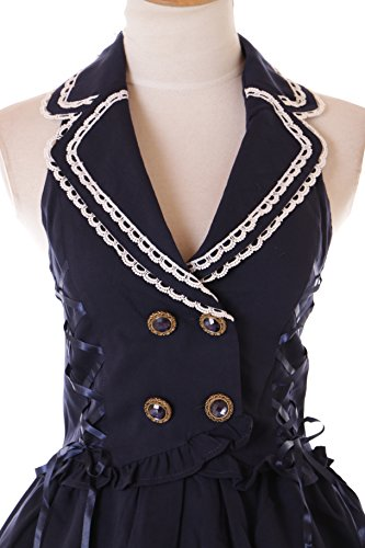Gothic Vintage Cosplay Kawaii Westen Lolita Dunkel Kostüm Kleid 30 Retro 2 Rockabilly Story Blau JSK BY0wUTqS