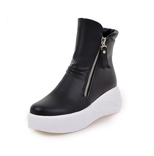 Low top Women's Black Boots Round Heels Zipper Closed Allhqfashion Toe Solid Kitten BqT5w5S