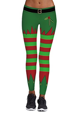 Green Striped Leggings (Pink Queen Santa Clause Role Playing Costume Tights Striped Red Green Leggings Christmas Pattern 3 US L-XL)