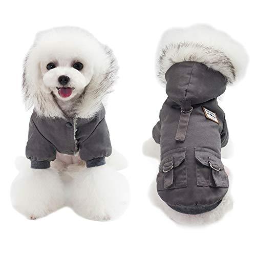 AprilWu Warm Dog Hooded Trench Coat Windproof Parka Jacket for Cold Weater (L, Black Grey)