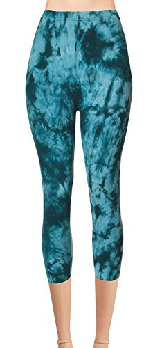 VIV Collection Regular Size Printed Brushed Tie-Dye Capris (Dusky Souls)