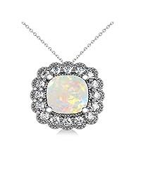 14k Gold Allurez Opal and Diamond Floral Cushion Halo Pendant Necklace