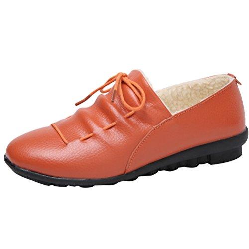 Mordenmiss Donna Inverno Velluto Neve Sneaker Piatto Basso Cotone Mocassini Caldi Arancione