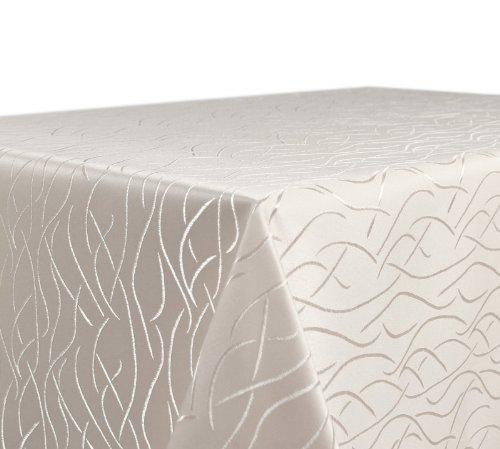 Tischdecke, FARBE wählbar, Streifen Damast Textil, Bügelfrei, Eckig 130x260 cm, Creme