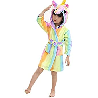 Songsongbear Kids Unicorn Hooded Bathrobe Children Animal Pajamas Soft Sleep Robe for Boys and Girls