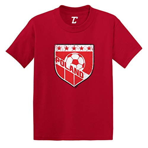 Poland Soccer - Distressed Badge Infant/Toddler Cotton Jersey T-Shirt (Red, 12 Months) ()