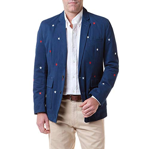 Spinnaker Blazer with Embroidered Red & White Stars by Castaway Clothing - FINAL ()