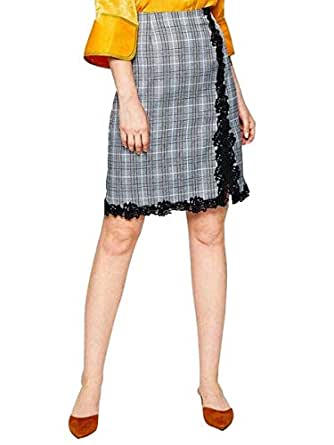 Women's Aline Skirt Houndstooth Pattern Lace Patched Elegant Vintage Style Skirt