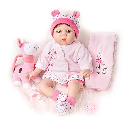 - Yesteria Realistic Reborn Baby Dolls Girl Silicone Vinyl Newborn Pink Outfit with Toy Giraffe 22 Inches