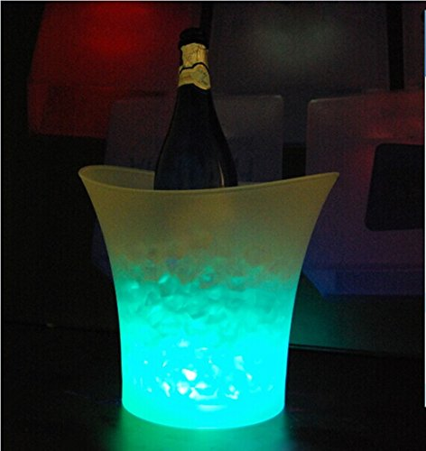 Goodfure Color Changing Waterproof Plastic LED Ice Bucket ,5L Bars Nightclubs LED Light up Champagne Beer Bucket for Home/ Bar/ Party/ Celebration,1 Pack
