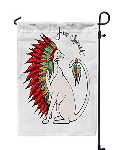 Shorping Welcome Garden Flag, 12x18Inch Cat in War Pets Portrait Native American Chief Headdress Doodle Animal Tribal Free Spirit Idea Print for Holiday and Seasonal Double-Sided Printing Yards Flags