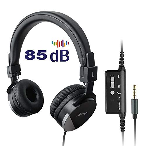 Active Noise Cancelling Headphones for Kids,Alteng Child Travel Foldable Stereo Headset W/Mic and Remote,Tangle-Free 3.5mm Jack, Soft and Smooth Ear Cup(Black)