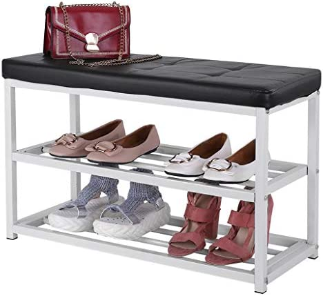 Shoe Bench, ZIPSAK 3-Tier Shoe Rack for Entryway Shoe Storage Organizer with Foam Padded Seat, Faux Leather, Metal Frame, for Hallway, Living Room