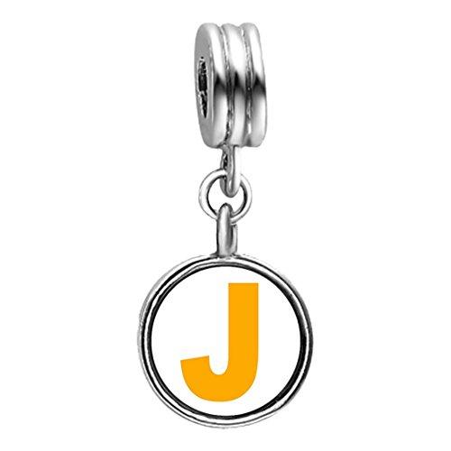 Silver Plated Yellow Letter J Photo Blue Zircon Crystal December Birthstone Flower Dangle Charm Bracelets