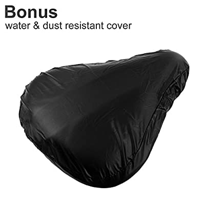 Zacro Big Size Exercise Bike Seat, Soft Wide Gel Bicycle Cushion for Bike Saddle, Comfortable Bike Seat Cover Fits Cruiser and Stationary Bikes, Indoor Cycling, Spinning With Waterpoof Cover