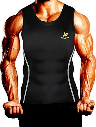 NINGMI Mens Sweat Vest Slimming Sauna Shirt Neoprene for Weight Loss No Zipper Body Shaper
