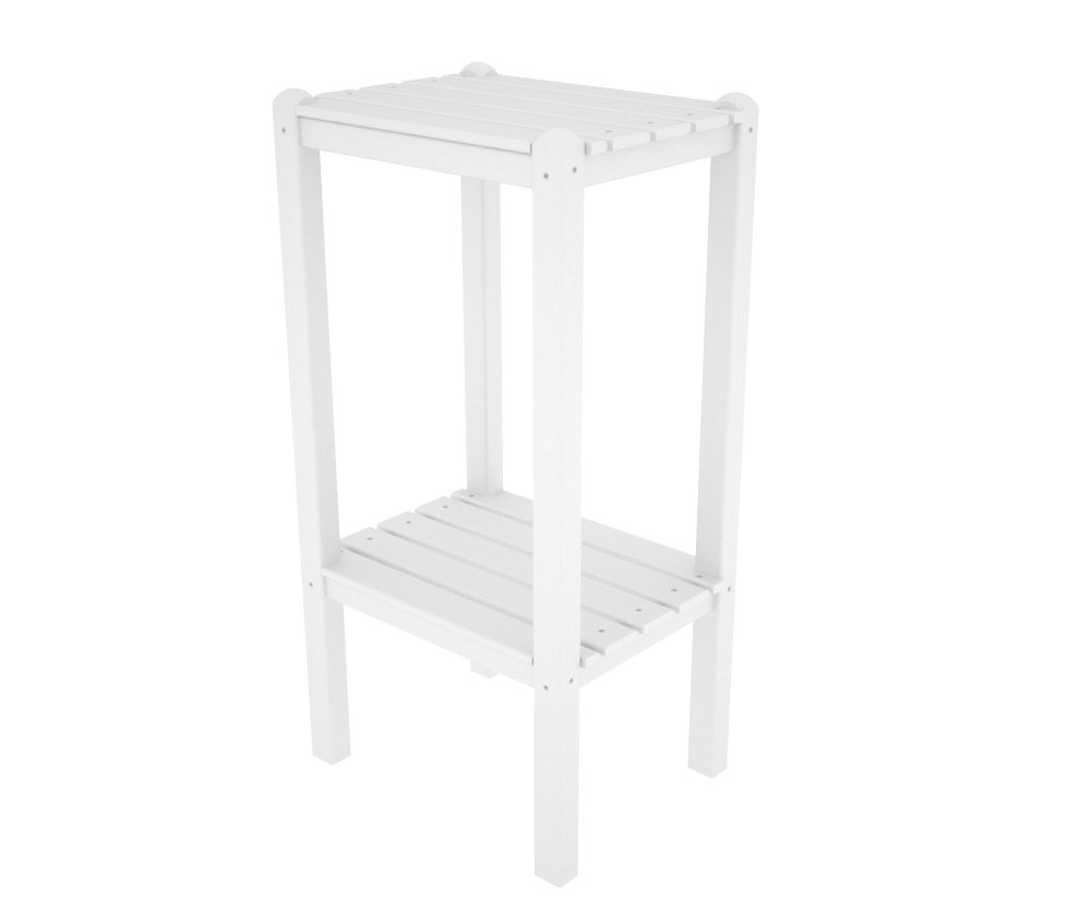 POLYWOOD BSTWH Two Shelf Bar Side Table, White