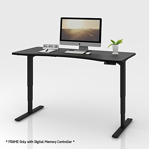 DEVAISE Electric Standing Desk Frame with Memory Controller, Dual Motor Height Adjustable Sit Stand Desk Base (Rectangular Leg - Black)
