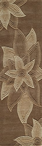 Mocha Runner Area Rug - Momeni Rugs DELHIDL-40MOC2380 Delhi Collection 100% Wool Hand Carved & Hand Tufted Contemporary Area Rug, 2'3