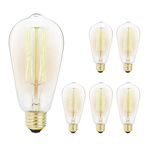 - 6-Pack Vintage Edison Light Bulbs-60W E26/E27 Base Dimmable Replacement Bulbs for Wall Sconces Lights, Antique Squirrel Cage Lights, Pendant Island Ceiling Chandelier Light Lamps, Amber Warm