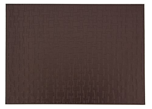 "Wintop Bamboo Forest Weave Faux Leather Placemats, 13""X18"", Set of 6, Chocolate"