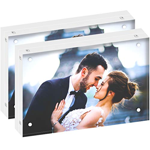 Stand Alone Photo - DEKIRU Acrylic Photo Frame - 4x6 (2 Packs), 20mm Thick • Magnetic Acrylic Frame • Frameless Desktop Picture Frames • Floating Photo Frame • Grade AAA Clear Acrylic Frame Block • Double Sided Frame