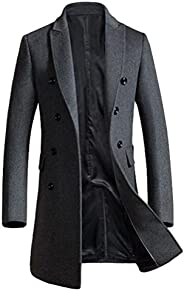 Mordenmiss Men's Premium Pea Coat Double Breasted Woolen Notched Collar Over