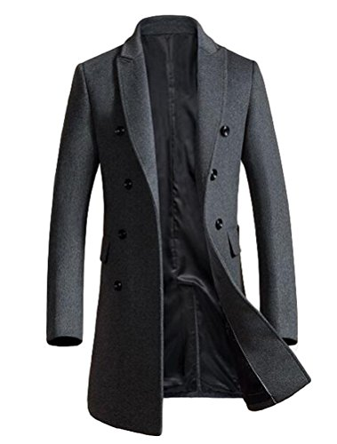 Mordenmiss Men's Premium Double Breasted Woolen Pea Coat Notched Collar Overcoat (M, Dark Gray)