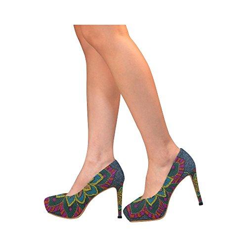 Womens High Sexy Pump Heels Flower InterestPrint jeans flower Shoes Jeans2 xIOqgwHE