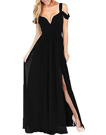 AnKang Elegant Floor Length Chiffon Bridesmaid Side Slit Formal Prom Evening Dresses