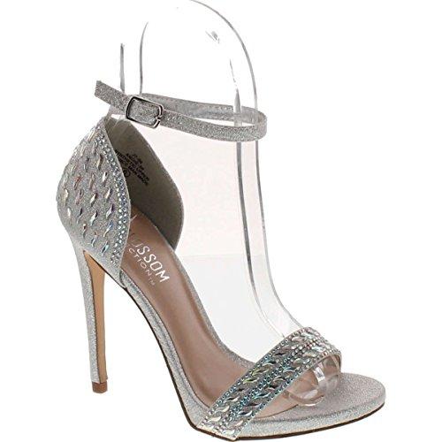 Collezione De Blossom Donna Angie-39 Splendido Cinturino Alla Caviglia Vestito Da Sandalo Con Tacco Angie-39 Argento
